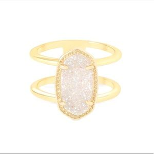 Kendra Scott Elyse in Gold with White Druzy Size 8